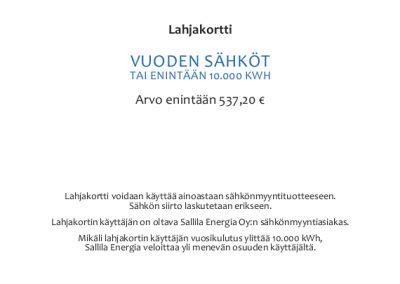 VUODEN SÄHKÖT LAHJAKORTTI - SALLILA ENERGIA OY